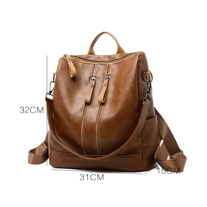 Women\'S Vintage Backpack Retro PU Leather Backpacks Girls Simple Casual Bag Large Capacity Student Schoolbag