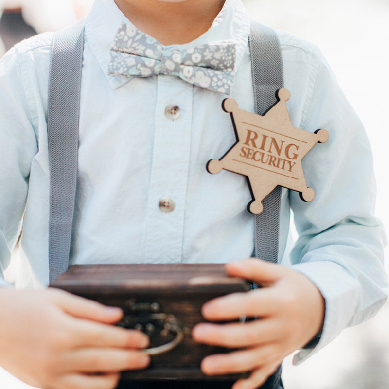 """""""Ring Security"""" Wooden Ring Bearer Badge Gift for Bridal Party Ringbearer Accessory Engraved Badge for Wedding Ceremony"""