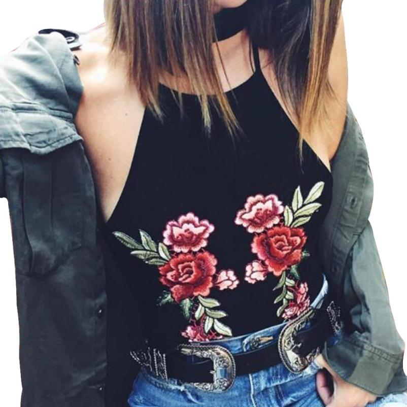 snowshine YLI Women Hanging Embroidery Short Sling Vest Shirt Blouse free shipping