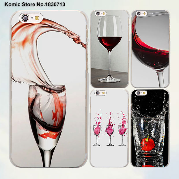 Red Wine Cup Glass Cheers design transparent clear Cases Cover for Apple iPhone 6 6s Plus 7 7Plus SE 5 5s 4s 5c