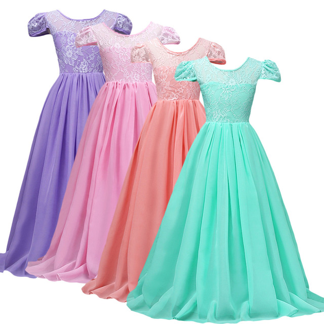 Elegant Kids Girls Chiffon Dress Wedding Formal Party Floral Lace ...