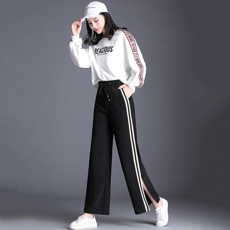 pourpre Haute Taille Mince Sport Pantalon Nouveau Lâche Casual 2018 B2158mt1865 Pantalons Style De Incendié marron Printemps Jambes À Feuille Larges Élégant Femmes Beige wf6BnqSZ