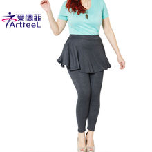 New Fashion Size XXXL Leggings Skirt With Pants Solid Skinny Autumn Winter Footless Legging Fake Two Pieces Pencil Pants