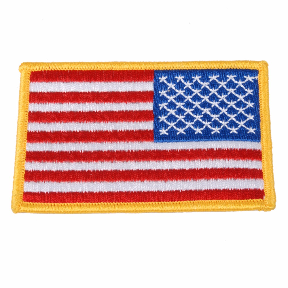 AMERICAN US FLAG EMBROIDERED INSIGNIA SHOULDER PATCH GOLD BORDER
