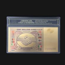 Wishonor цветная Золотая банкнота евро один миллион евро банкноты с COA рамкой в 24 позолоченные для коллекции и подарков