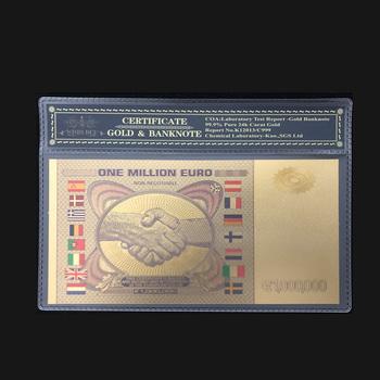 Wishonor kolorowe Euro złoty banknot jeden mln banknotów Euro z ramką COA w 24 pozłacane na kolekcję i prezenty tanie i dobre opinie FGHGF Antique sztuczna Patriotyzmu 7days after you paid Souvenir collection Gold
