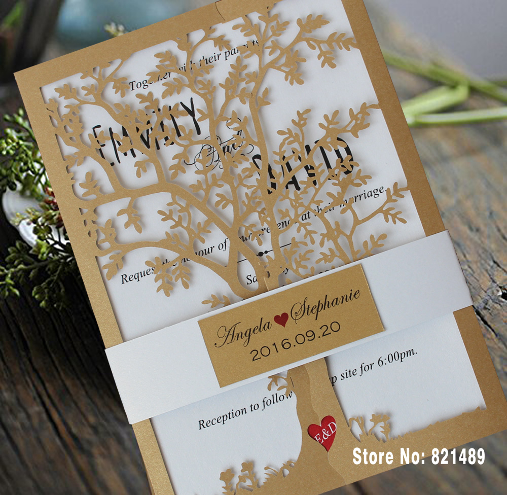 Us 125 0 Party Birthday Invitation Cards Royal Tree Decorations Laser Cut Wedding Invitations Card Set Of 50 In Cards Invitations From Home