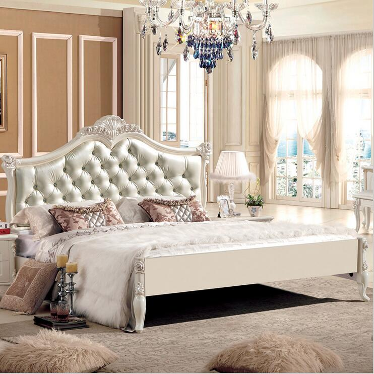 king size leather modern european solid wood bed Fashion Carved 1.8 m bed french bedroom furniture 10035 стоимость