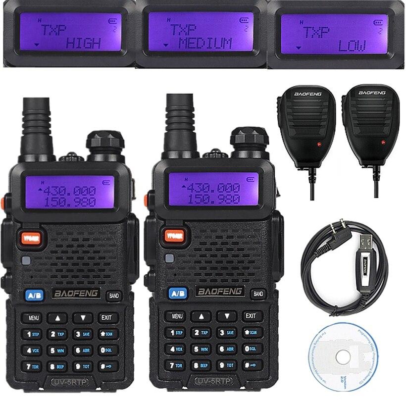 imágenes para 2x baofeng uv-5r tp 136-174/400-520 mhz fm 1/4/8 vatios de dos vías del jamón radio walkie talkie con 2 altavoz mic/cable de programación/cd