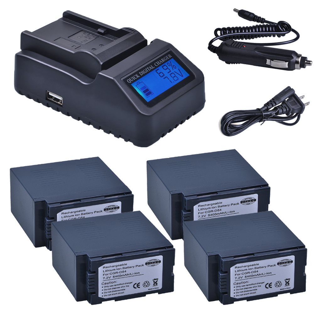 4pc 5400mAh CGA-D54 CGA D54 D54S Bateria + Ultra Fast LCD Quick Charger for Panasonic CGA-D54S CGA-D220 CGA-D320 CGA-D54 Battery цена