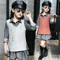 2 Unids Niñas Blusa + chaleco, Nueva Llegada 2017 de Primavera y Otoño chicas grandes Conjuntos de ropa de moda de la Marca de La Princesa factory outlet