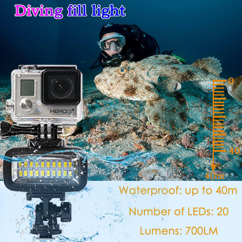 Image 2 - Orsda Diving Light Video LED High Power Outdoor Waterproof Lamp For GoPro SJCAM Sports Action Cameras flash gopro Lights-in Sports Camcorder Cases from Consumer Electronics