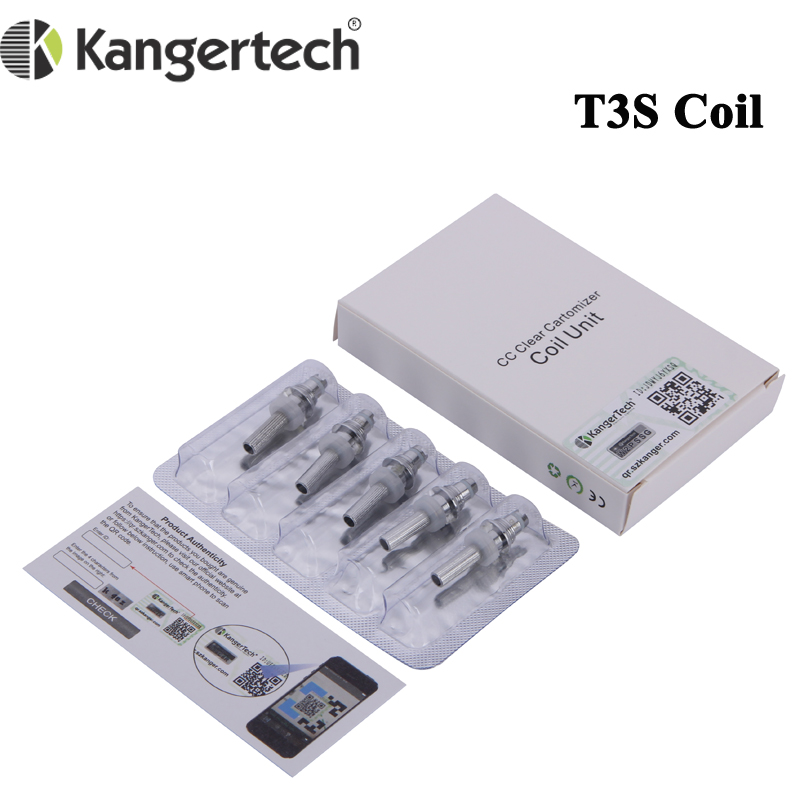 50pcs lot Original Kanger T3S Heating Coil 1 8ohm 2 2ohm 2 5ohm Atomizer Replacement Core