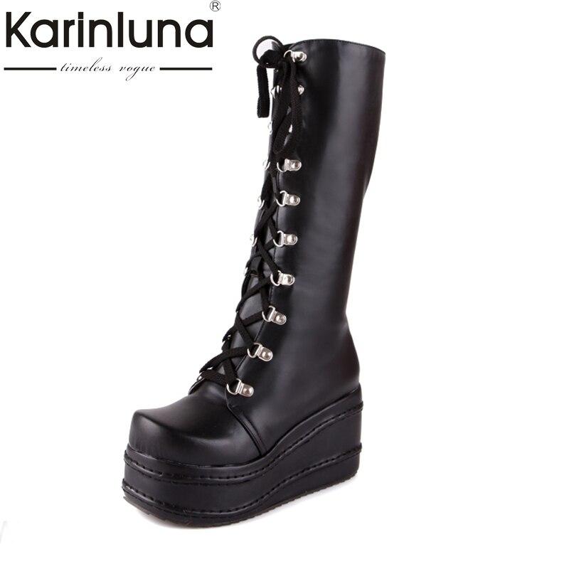 Karinluna/Большие размеры 34–43 Горячие распродажа, модная обувь в стиле панк ботинки для костюмированной вечеринки женская обувь на платформе зимние вечерние Клин Сапоги до колена на высоком каблуке