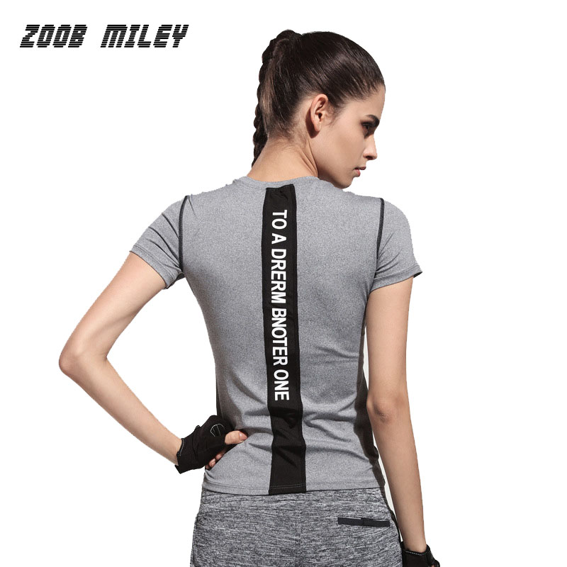 women sports running yoga fitness t shirts high elastic