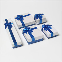 DoreenBeads Blue & White Jewelry Packaging Box Ribbon Bowknot Gift Case Boxes Display Classic New Year Valentine's Day 1 Piece