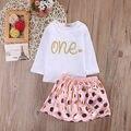 2017 Baby Girl Clothes 2 UNIDS Muchachas Del Niño Del Bebé Ropa Linda Carta de Manga larga T-shirt + Polka Dot Falda Rosada Del Bebé Trajes conjunto