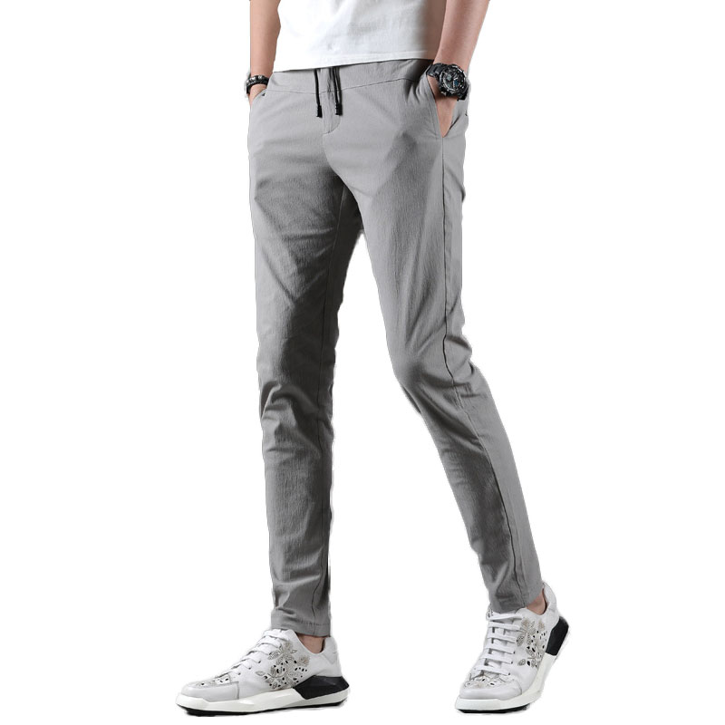 Idopy 2019 New Fashion Solid Pants Men Slim Fit Casual Length Streetwear Suit Pant Trousers Men Clothing For Male