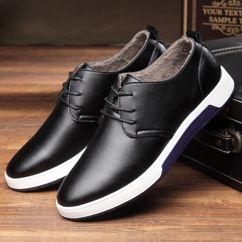 Plush Leather Men Shoes New 2018 Autumn Winter Fashion England Men Casual Shoes For Male Sneakers Flats plus large size 37-48