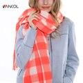 196*70 CM 2015 New Arrival Fall Fashion Long Warm Oversize Shawl Wrap Tassels Pink White Tartan Winter Plaid Wool Scarf Orange