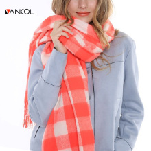 196*70 CM 2015 New Arrival Fall Fashion Long Warm Oversize Shawl Wrap Tassels Pink White Tartan Winter Plaid Wool Scarf Orange