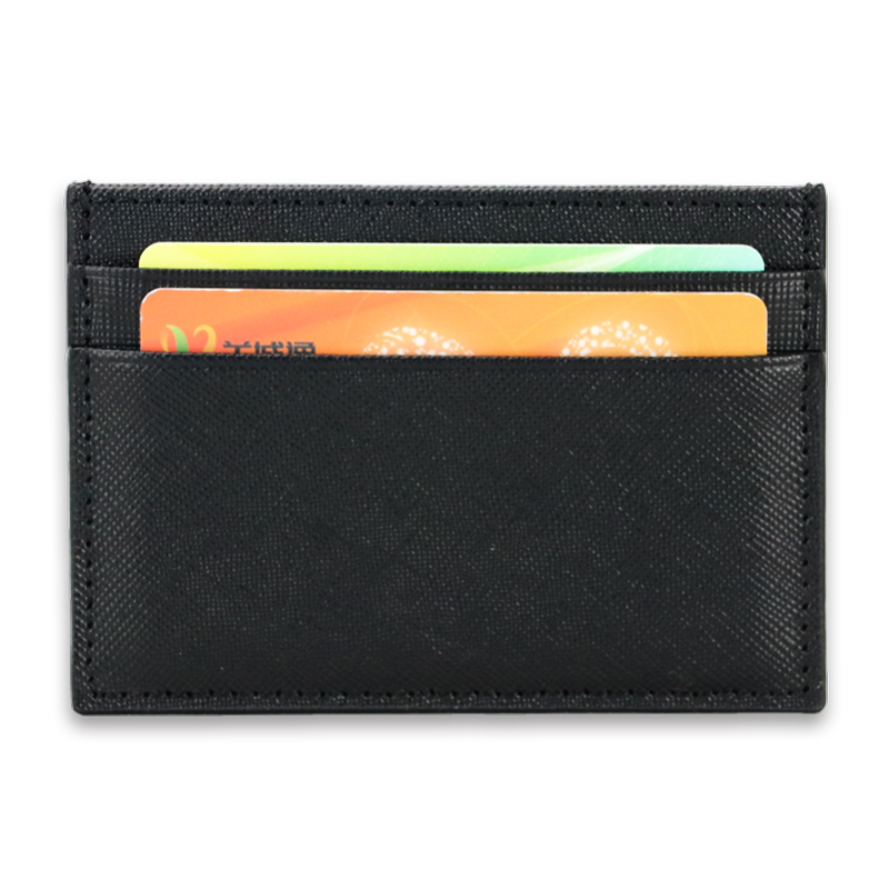 f7dbe03d8391 Classic Business Saffiano Split Leather Credit Card Holder Limited Edition  Customed Initial letters ID Card Case Card Wallet