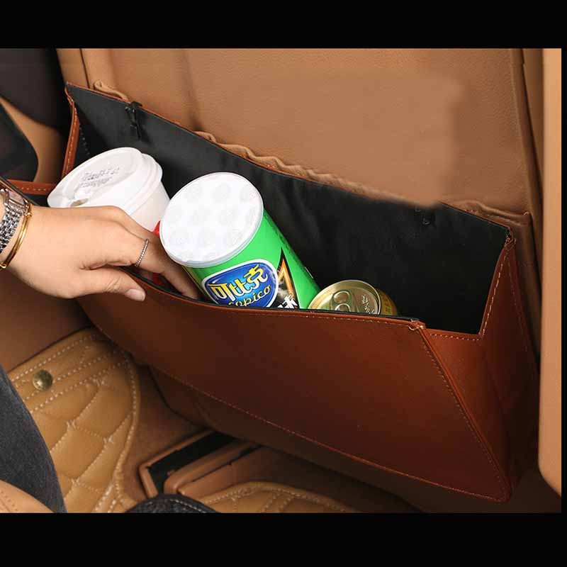 Leather Seat Back Multi-function Pockets Hanging Trash Car Folding Convenient Practical Large Capacity Auto Organizer Trash Box купити накладки спиннер на руль