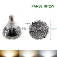 Free Shipping 36W LED PAR38 Light High Power LED Bulb Light E27 Spotlight AC85 265V Warm