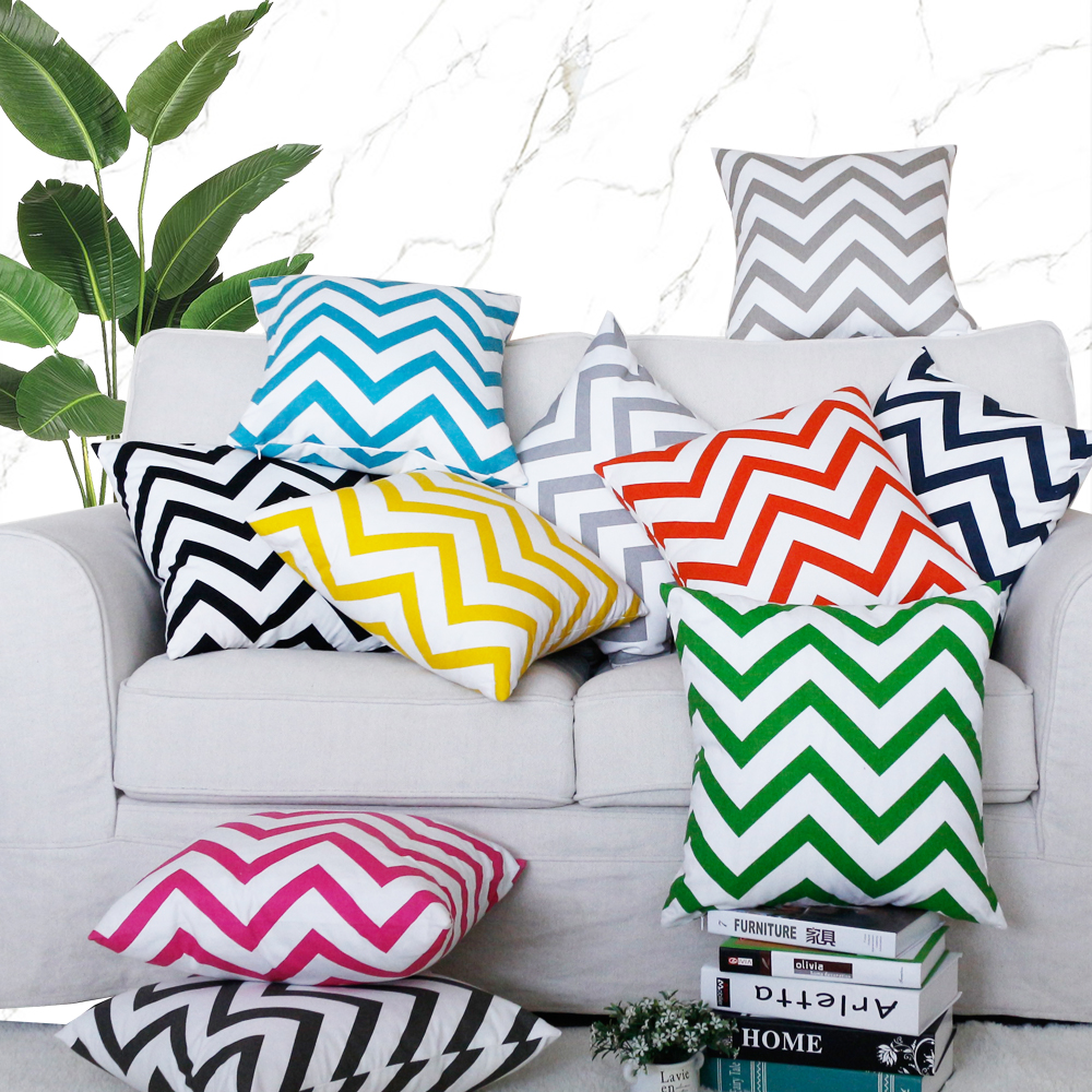 Cotton Canvas Pillowcase Geometric Wave Stripe Car Bed Throw Pillow Case Custom Cushion Cover Home Decor 40 45 50 60 70cm Gift