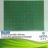 어두운 녹색 3.0 미리메터 사각형 자기 치유 3 층 PVC 절단 매트 A2 60x45 cm 24x18 인치 바느질 커터 UESTA 보드 그리