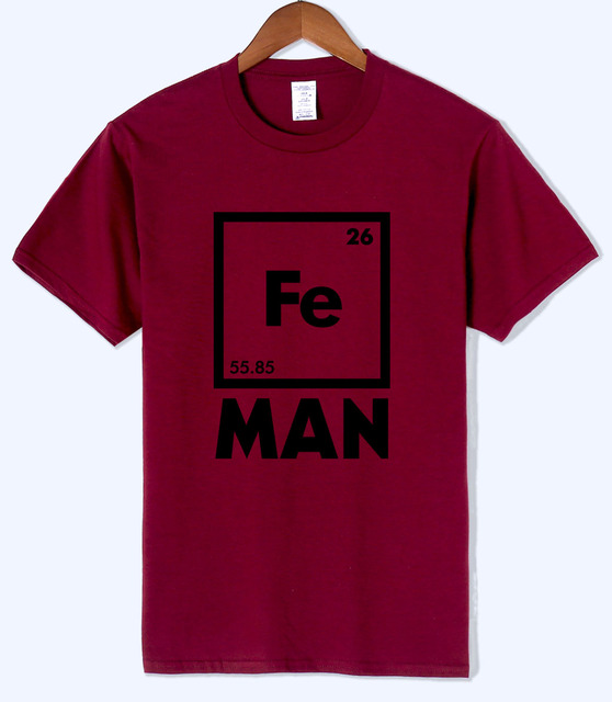 2018 Summer Iron Science T Shirt Funny Chemistry Superhero Shirt