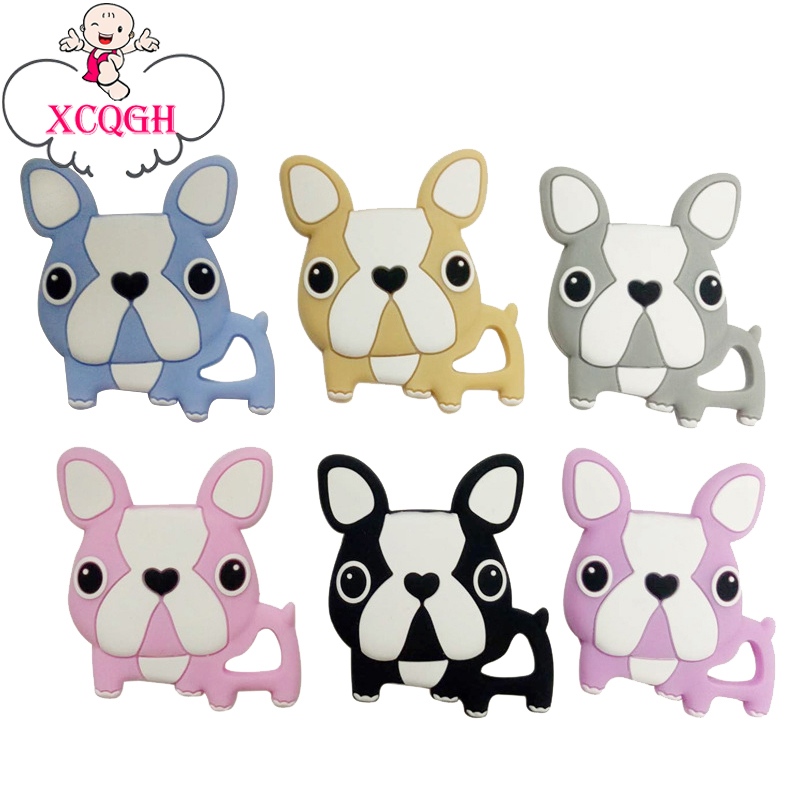 XCQGH 1Pcs Bulldog Nursing Pendant Teething Necklace Making Silicone Cartoon Dog Charms Baby Teether Silicone Toys Teethers