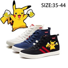 Pikachu Pokemon Printing Illustration High Heel Breathable Canvas Uppers Sneakers College Customized Fashion High-Tops