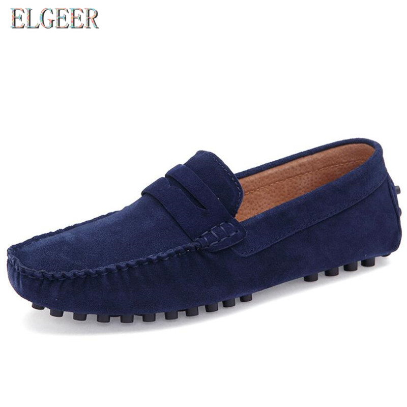 Men Casual Suede Leather Loafers Black Solid Driving Moccasins Slip on Shoes Male Big Size