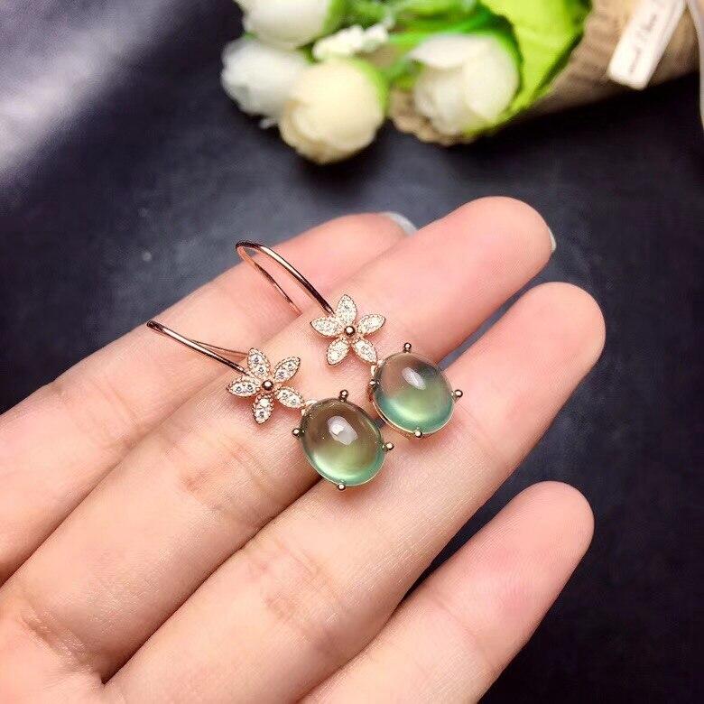 Uloveido Girls Prehnite Stone Drop Grape Earrings for Women 925 Sterling Silver Dangle Earrings for Women