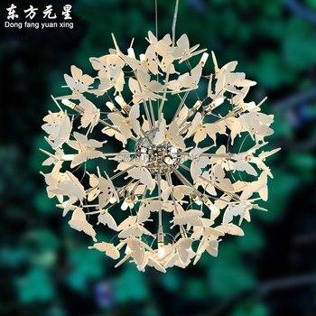 Akrylowe światła żyrandol lampa LED motyl projekt wiszące światła oświetlenie restauracji