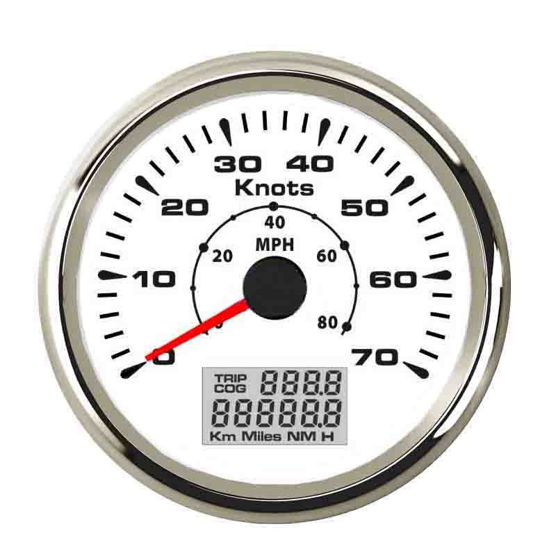 85mm GPS Speedometer Gauge 70 Knots Boat Yacht Waterproof GPS Speedometer LCD Speed Mileometer With 7 Colors Backlight 9~32V 85mm car gps speedometer truck boat digital lcd speed gauge knots compass with gps antenna