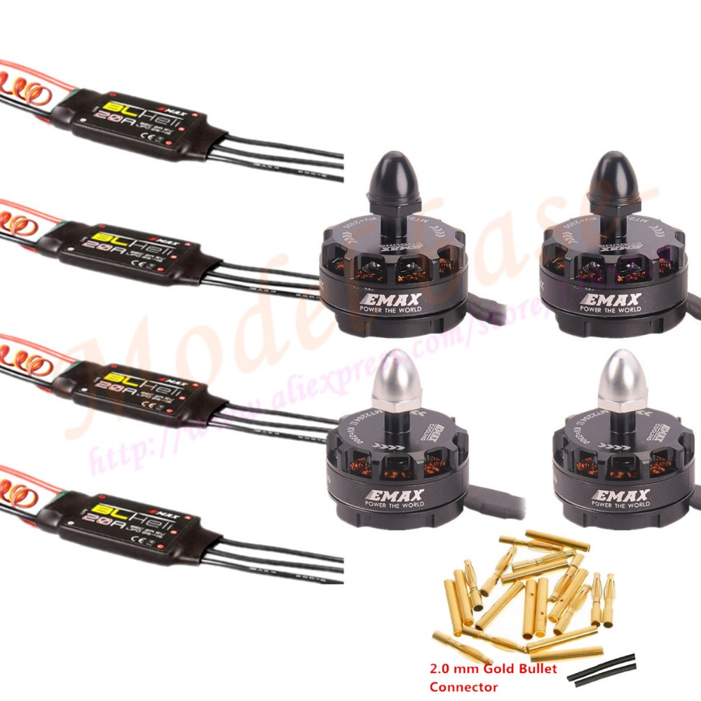 4X Emax MT2204 II 2300KV Cooling Brushless Motor&4X Emax BLHeli 20A ESC +20pairs 2.0mm connect For MINI QAV250 Quadcopter mini zmr250 carbon fiber quadcopter cc3d evo control mt2204 2300kv motor emax blheli firmware 20a esc 5045 prop led lights board