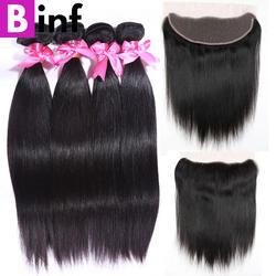 BINF волосы remy 4 шт. бразильские прямые волосы пучки с закрытием уха до уха 13x4 кружева ЛОБНЫЙ натуральный цвет бесплатная доставка