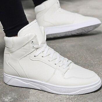 Для мужчин повседневная обувь весна/Осенняя мода на шнуровке из PU искусственной кожи высокая обувь для студентов Швейные массаж вулканичес...