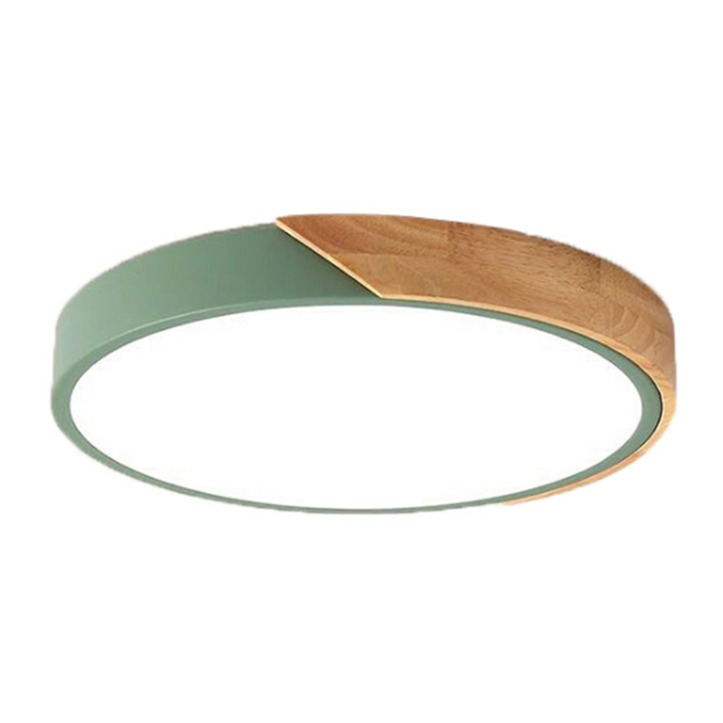 Nordic Oak Wood Adjustable Led Ceiling Lamp Round Bedroom Lamps