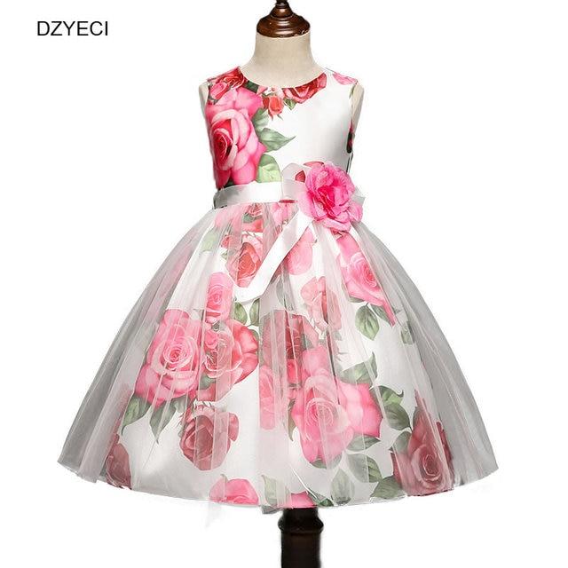 95c7d20a8e285 DZYECI bébé fille fleur robe pour robe demoiselle d honneur Costume noël  Carnaval enfant Deguisement