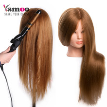 Training head dolls for hairdressers 60 % Real Human Hair Mannequin Dolls blonde color professional styling head can be curled