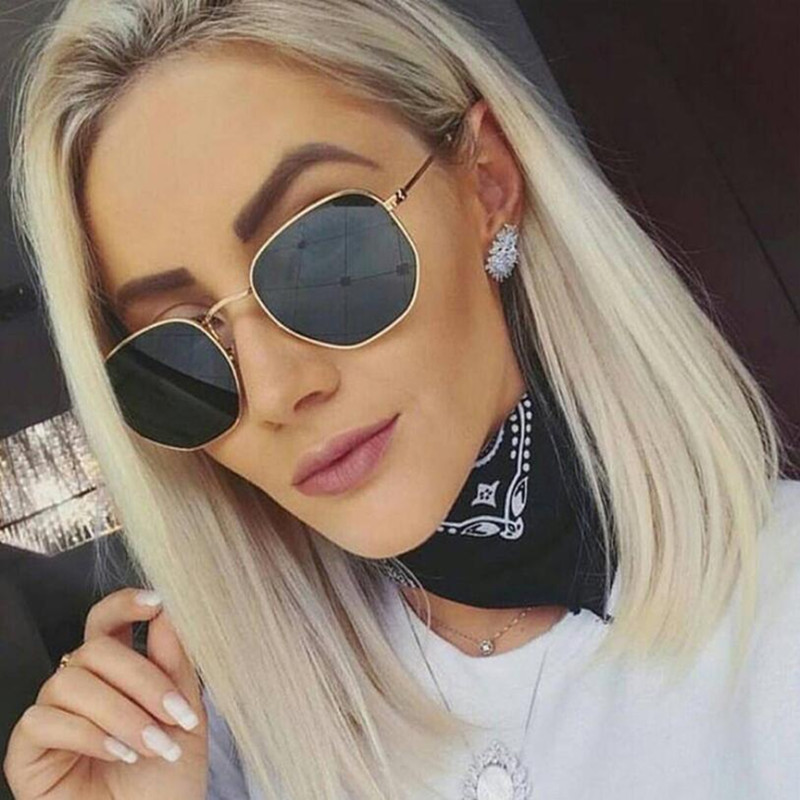 Sunglasses Men Lens Metal Frame Polygon Clear Hexagon Vintage Designer Women Brand