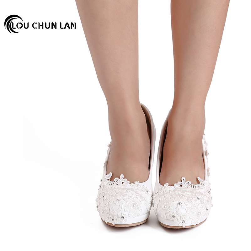 LOUCHUNLAN Large Size 41 48 White Wedding Shoes lace rhinestone Bridal female High Heels flower pearl Shoes Women Pumps