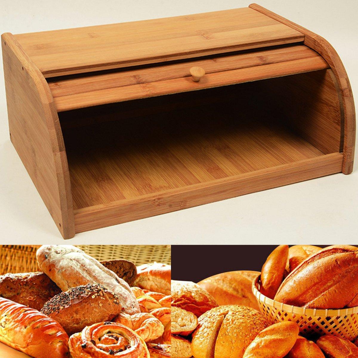Bambou naturel porte-pain alimentaire stockage conteneur cuisine rouleau Top pain boîte de rangement cuisines fournitures outils alimentaires