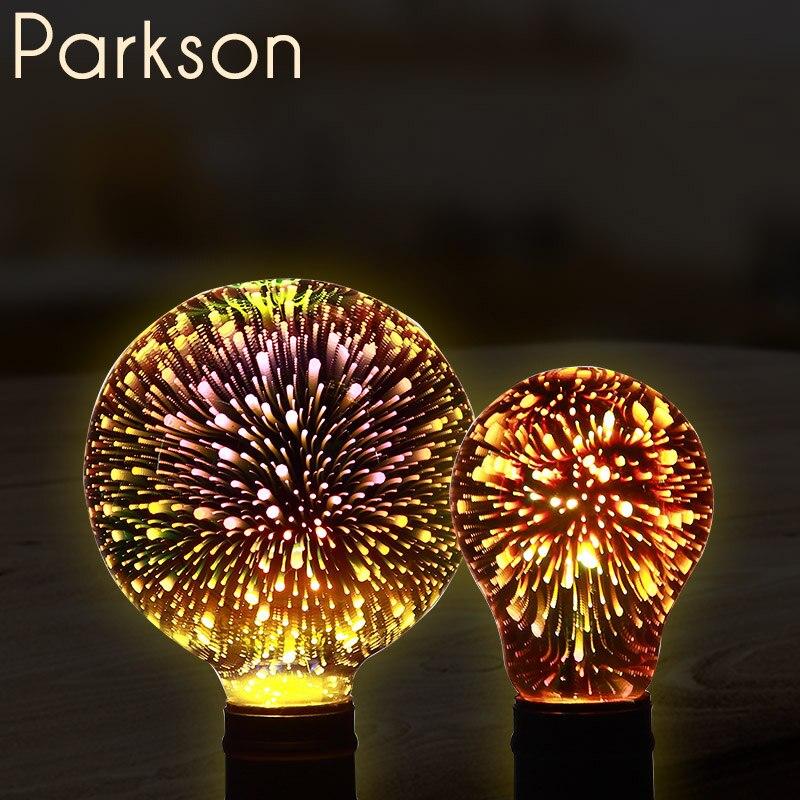 3D Led Ampoule 220 V E27 Coloré Feux D'artifice Led Edison Filament Ampoule Vacances Décorations De Noël Lampada LED Lampe Lamparas Bombillas