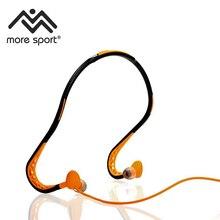 -Resistente à água Dobrável Por Trás do Pescoço Esporte Fones De Ouvido com Microfone In-line, controle remoto e uma Bolsa