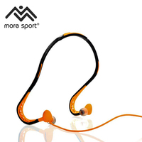 Water-resistant Foldable Behind the Neck Sport Earphones with In-line Mic, Remote and Pouch