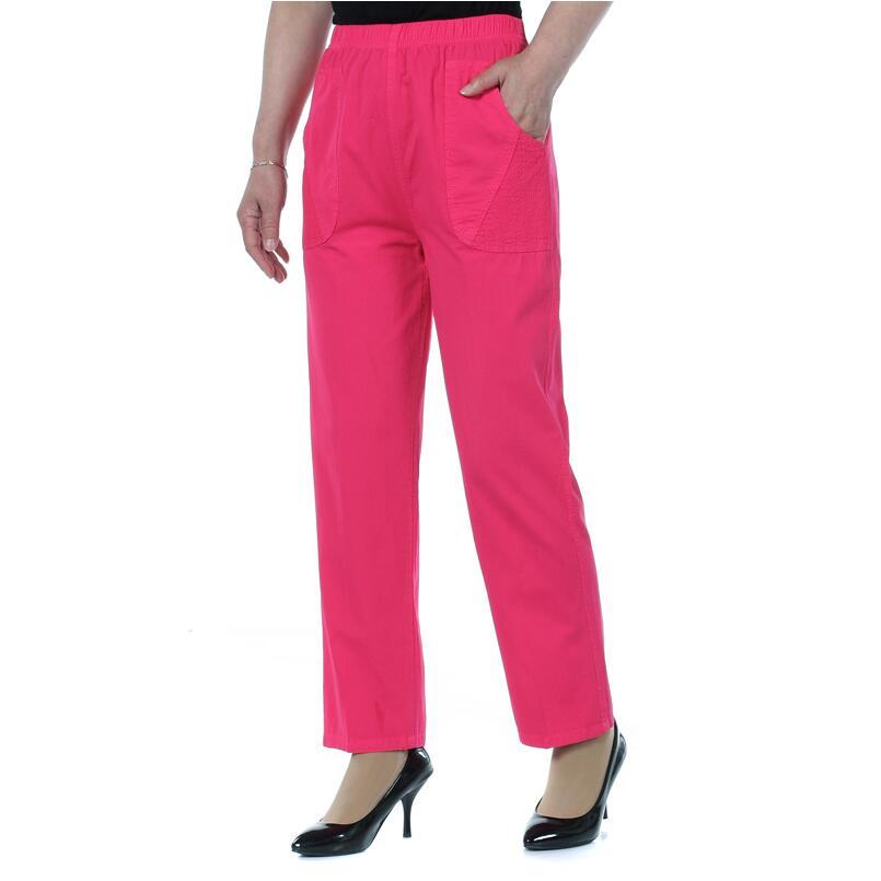 2018 Summer Women Plus Size   Pants     Capris   Female High Waist Straight   Pants   Elastic Waist Casual   Pants   Women
